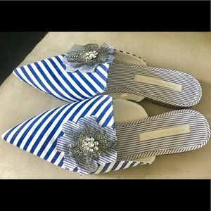 Zara Striped Mules Size US 7